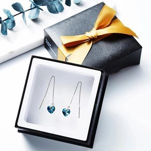 Swatovski crystal ocean heart earrings